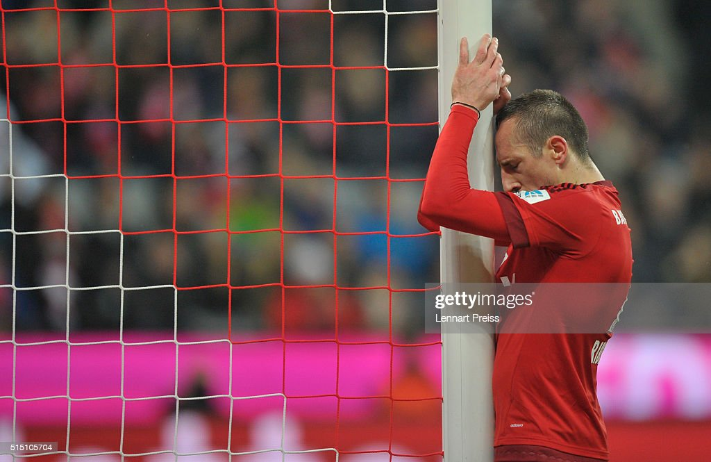 Franck Ribery of Bayern Muenchen reacts after a missed chance during the Bundesliga match between FC Bayern Muenchen and Werder Bremen at Allianz Arena on March 12, 2016 in Munich, Germany.