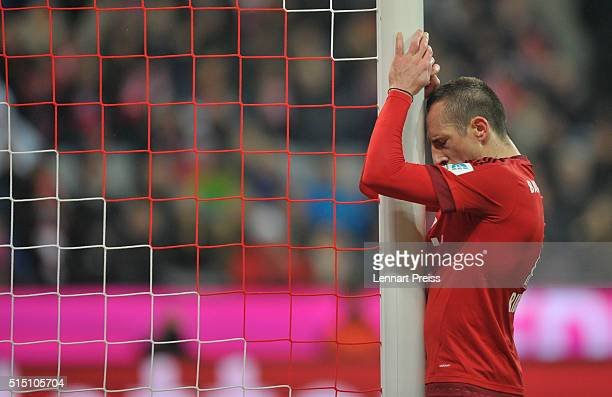 Franck Ribery of Bayern Muenchen reacts after a missed chance during the Bundesliga match between FC Bayern Muenchen and Werder Bremen at Allianz...