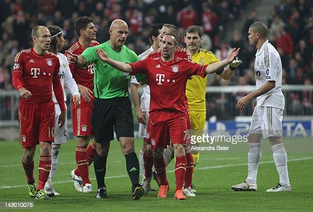 Franck Ribery of Bayern Muenchen reacts after he was fouled by Sergio Ramos of Real Madrid in the 16th minute during the UEFA Champoins League Semi...
