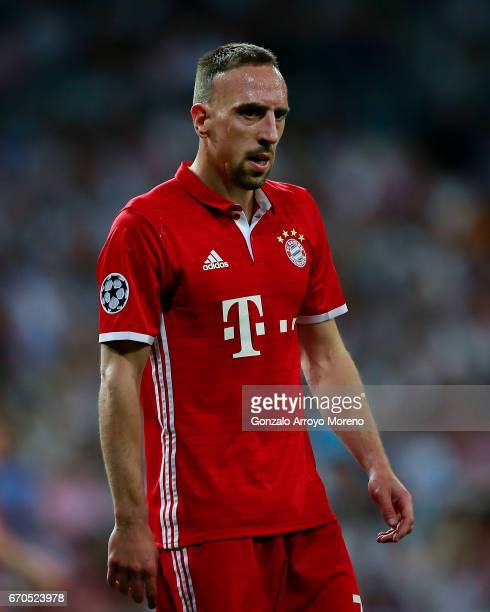 Franck Ribery of Bayern Muenchen reacts during the UEFA Champions League Quarter Final second leg match between Real Madrid CF and FC Bayern Muenchen...