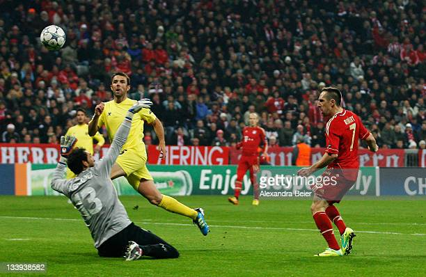Franck Ribery of Bayern Muenchen scores his first goal against goalkeeper Diego Lopez of Villareal during the UEFA Champions League group A match...