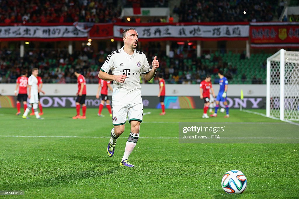 Franck Ribery of Bayern Muenchen shows a thumbs up to the crowd as they chant his name during the FIFA Club World Cup Semi Final match between Guangzhou Evergrande FC and Bayern Muenchen at the Agadir Stadium on December 17, 2013 in Agadir, Morocco.