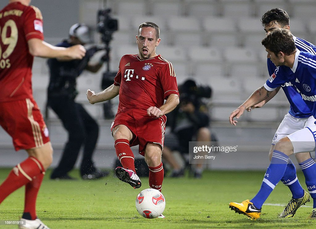<a gi-track='captionPersonalityLinkClicked' href=/galleries/search?phrase=Franck+Ribery&family=editorial&specificpeople=490869 ng-click='$event.stopPropagation()'>Franck Ribery</a> of Bayern Munich in action during the friendly game between FC Bayern Munich and FC Schalke 04 at the Al-Sadd Sports Club Stadium on January 8, 2013 in Doha, Qatar.