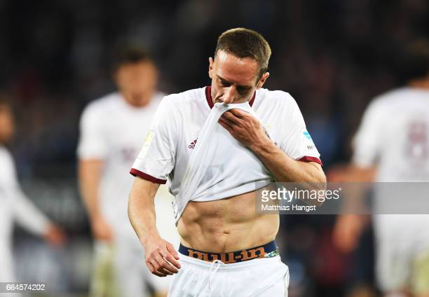 Franck Ribery of Bayern Munich is dejected after losing the Bundesliga match between TSG 1899 Hoffenheim and Bayern Muenchen at Wirsol...
