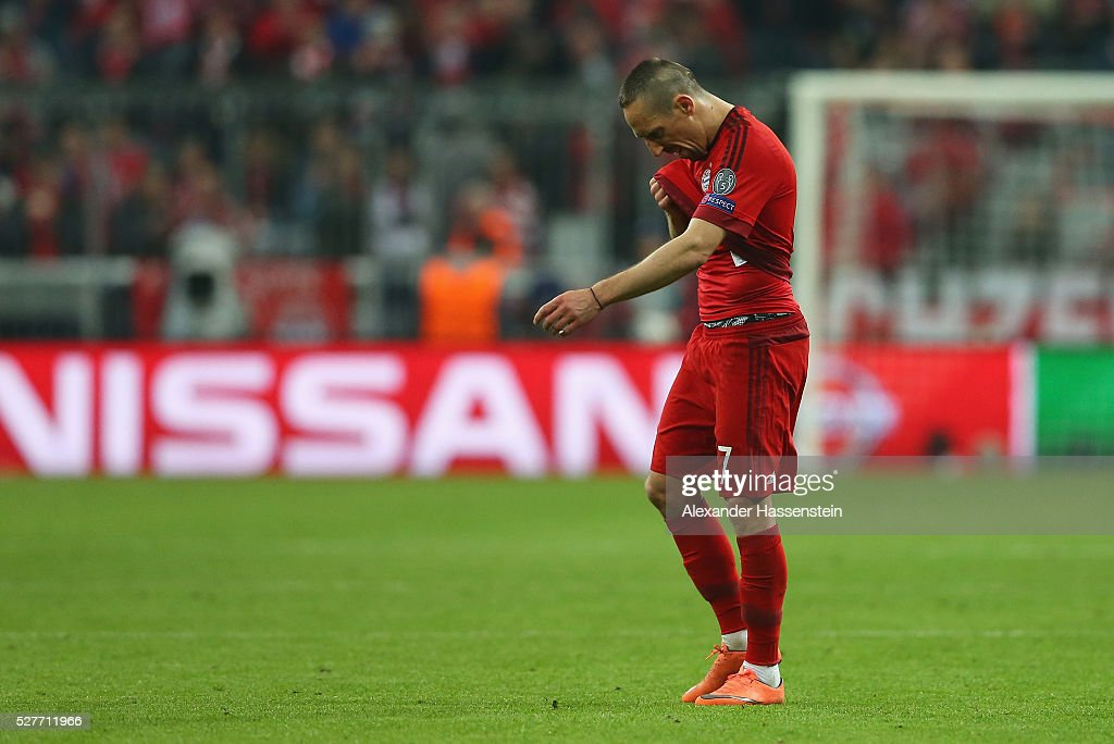 Franck Ribery of Bayern Munich looks dejected after the UEFA Champions League semi final second leg match between FC Bayern Muenchen and Club Atletico de Madrid at Allianz Arena on May 3, 2016 in Munich, Germany. Bayern Munich won the match 2-1, but Atletico Madrid reached the final on the away goals rule.