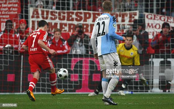 Franck Ribery of Bayern Munich scores the winning goal with a penalty kick during the DFB Cup quarterfinal match between FC Bayern Munich and TSV...
