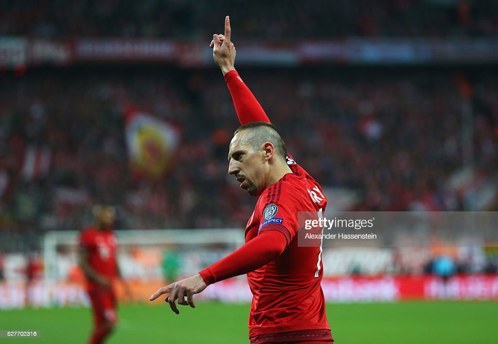 <a gi-track='captionPersonalityLinkClicked' href=/galleries/search?phrase=Franck+Ribery&family=editorial&specificpeople=490869 ng-click='$event.stopPropagation()'>Franck Ribery</a> of Bayern Munich signals during UEFA Champions League semi final second leg match between FC Bayern Muenchen and Club Atletico de Madrid at Allianz Arena on May 3, 2016 in Munich, Germany.