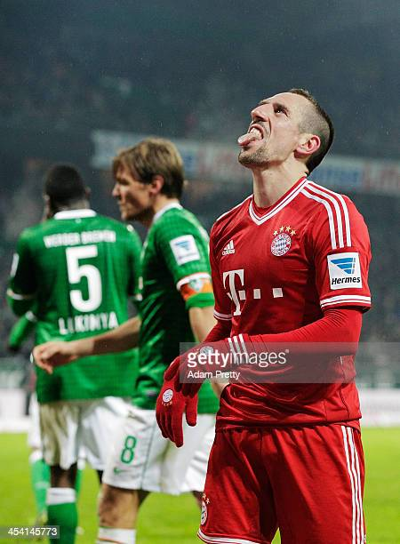Franck Ribery of Bayern reacts and pokes his tongue out after missing a goal scoring opportunity during the Bundesliga match between Werder Bremen...