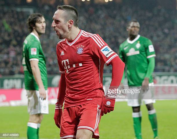 Franck Ribery of Bayern smiles fter scoring a goal during the Bundesliga match between Werder Bremen and FC Bayern Muenchen at Weserstadion on...