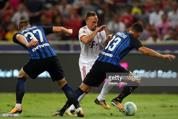 Franck Ribery of FC Bayern competes for the ball with Danilo D'Ambrosio of FC Internzionale during the International Champions Cup match between FC...