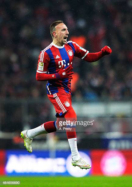 Franck Ribery of FC Bayern Muenchen celebrates after scoring the second goal during the Bundesliga match between FC Bayern Muenchen and FC Koeln at...