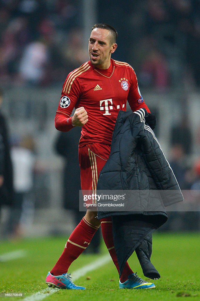 Franck Ribery of FC Bayern Muenchen celebrates victory after the UEFA Champions League quarter final first leg match between FC Bayern Muenchen and Juventus at Allianz Arena on April 2, 2013 in Munich, Germany.
