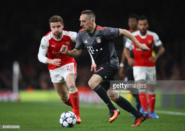 Franck Ribery of FC Bayern Muenchen in action during the UEFA Champions League Round of 16 second leg match between Arsenal FC and FC Bayern Muenchen...