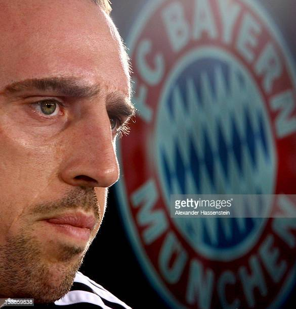 Franck Ribery of FC Bayern Muenchen looks on during a press conference at Bayern's trainings ground 'Saebener Strasse' ahead of the UEFA Champions...