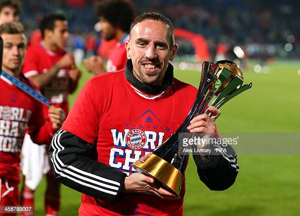 Franck Ribery of FC Bayern Munchen lifts the FIFA Club World Cup after victory in the FIFA Club World Cup Final between FC Bayern Munchen and Raja...
