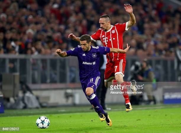 Franck Ribery of Muenchen and Alexandru Chipciu of Anderlecht battle for the ball during the UEFA Champions League group B match between Bayern...