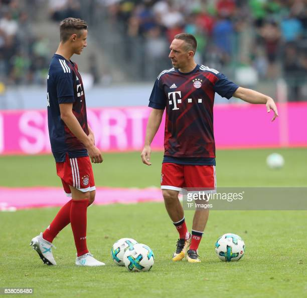 Franck Ribery of Muenchen and Marco Friedl of Munich looks on during the Telekom Cup 2017 Final between SV Werder Bremen and FC Bayern Muenchen at...
