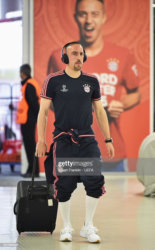 Franck Ribery of Muenchen arrives before the UEFA Champions League Semi Final second leg match between FC Bayern Muenchen and Club Atletico de Madrid at the Allianz Arena on May 03, 2016 in Munich, Bavaria.