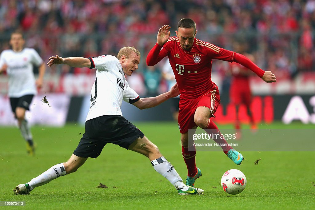 <a gi-track='captionPersonalityLinkClicked' href=/galleries/search?phrase=Franck+Ribery&family=editorial&specificpeople=490869 ng-click='$event.stopPropagation()'>Franck Ribery</a> (R) of Muenchen battles for the ball with Sebastian Rode of Frankfurt during the Bundesliga match between FC Bayern Muenchen and Eintracht Frankfurt at Allianz Arena on November 10, 2012 in Munich, Germany.