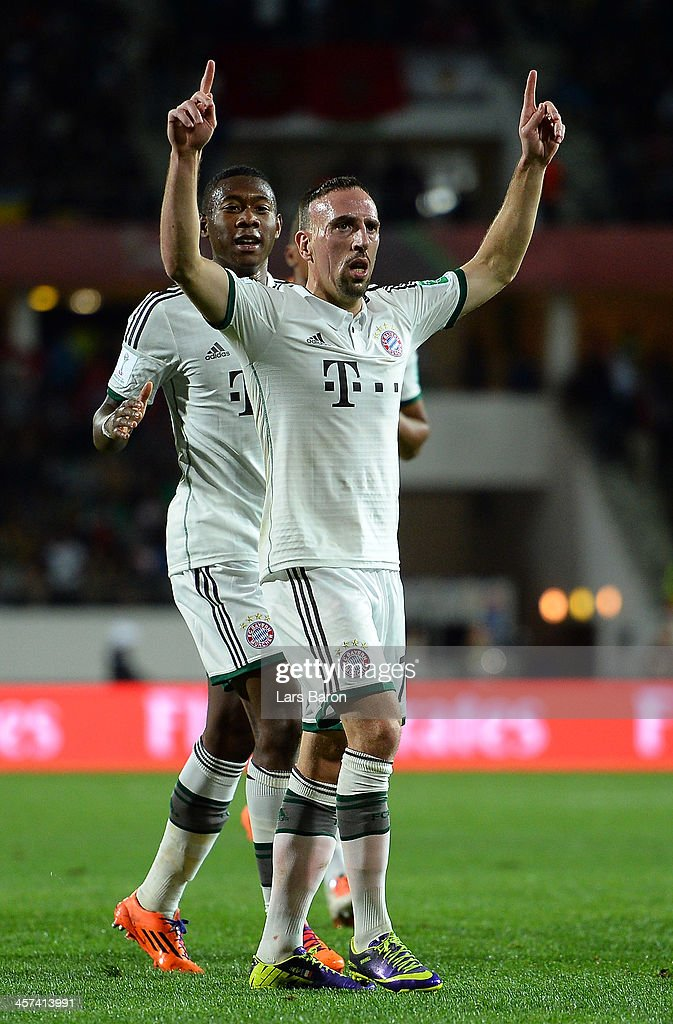 <a gi-track='captionPersonalityLinkClicked' href=/galleries/search?phrase=Franck+Ribery&family=editorial&specificpeople=490869 ng-click='$event.stopPropagation()'>Franck Ribery</a> of Muenchen celebrates after scoring his teams first goal during the FIFA Cub World Cup semifinal match between Guangzhou Evergrande and Bayern Muenchen at Agadir Stadium on December 17, 2013 in Agadir, Morocco.