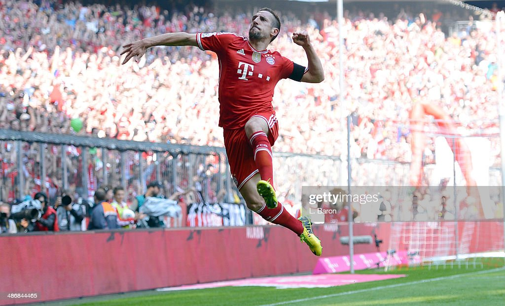 Franck Ribery of Muenchen celebrates after scoring his teams first goal during the Bundesliga match between Bayern Muenchen and Werder Bremen at...