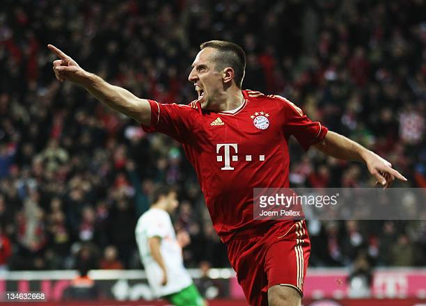 Franck Ribery of Muenchen celebrates after scoring his team's third goal during the Bundesliga match between FC Bayern Muenchen and SV Werder Bremen...
