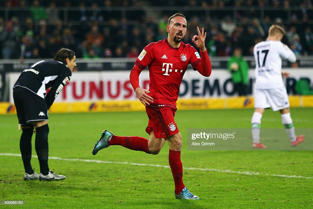 Franck Ribery of Muenchen celebrates his team's first goal during the Bundesliga match between Borussia Moenchengladbach and FC Bayern Muenchen at Borussia-Park on December 5, 2015 in Moenchengladbach, Germany.