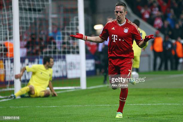Franck Ribery of Muenchen celebrates his team's third goal during the UEFA Champions League Group A match between FC Bayern Muenchen and Villarreal...