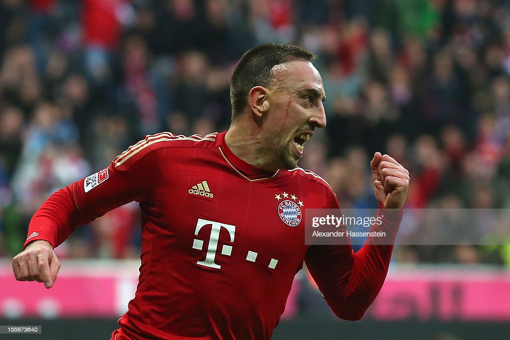 Franck Ribery of Muenchen celebrates scoring the opening goal during the Bundesliga match between FC Bayern Muenchen and Eintracht Frankfurt at Allianz Arena on November 10, 2012 in Munich, Germany.