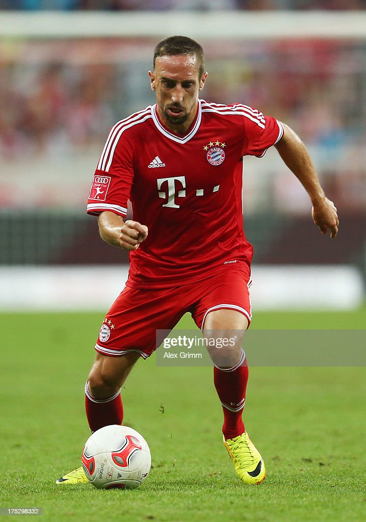 <a gi-track='captionPersonalityLinkClicked' href=/galleries/search?phrase=Franck+Ribery&family=editorial&specificpeople=490869 ng-click='$event.stopPropagation()'>Franck Ribery</a> of Muenchen controles the ball during the Audi Cup Final match between FC Bayern Muenchen and Manchester City at Allianz Arena on August 1, 2013 in Munich, Germany.