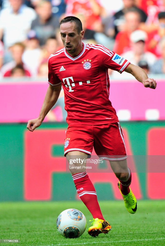 Franck Ribery of Muenchen in action during the Bundesliga match between FC Bayern Muenchen and 1. FC Nuernberg at Allianz Arena on August 24, 2013 in Munich, Germany.
