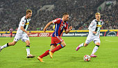 Franck Ribery of Muenchen in action with Thorben Marx of Gladbach during the Bundesliga match between Borussia Moenchengladbach and FC Bayern...