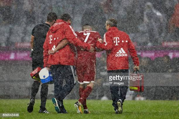Franck Ribery of Muenchen injured during the Bundesliga match between FC Bayern Muenchen and Bayer 04 Leverkusen at Allianz Arena on August 18 2017...
