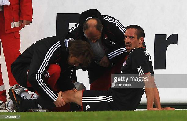 Franck Ribery of Muenchen is seen injured during the Bundesliga match between VfL Wolfsburg and FC Bayern Muenchen at Volkswagen Arena on January 15...