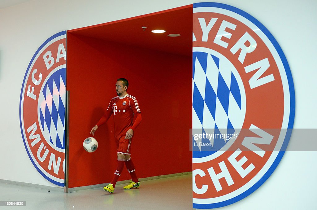 Franck Ribery of Muenchen is seen prior to the Bundesliga match between Bayern Muenchen and Werder Bremen at Allianz Arena on April 26, 2014 in Munich, Germany.