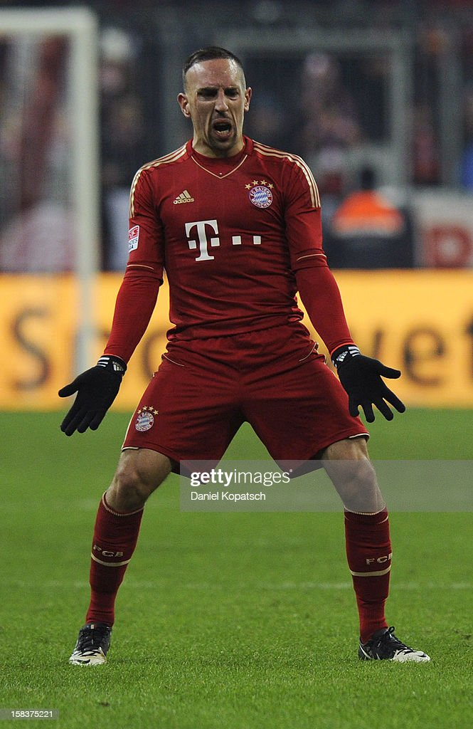 Franck Ribery of Muenchen reacts during the Bundesliga match between FC Bayern Muenchen and VfL Borussia Moenchengladbach at Allianz Arena on December 14, 2012 in Munich, Germany.