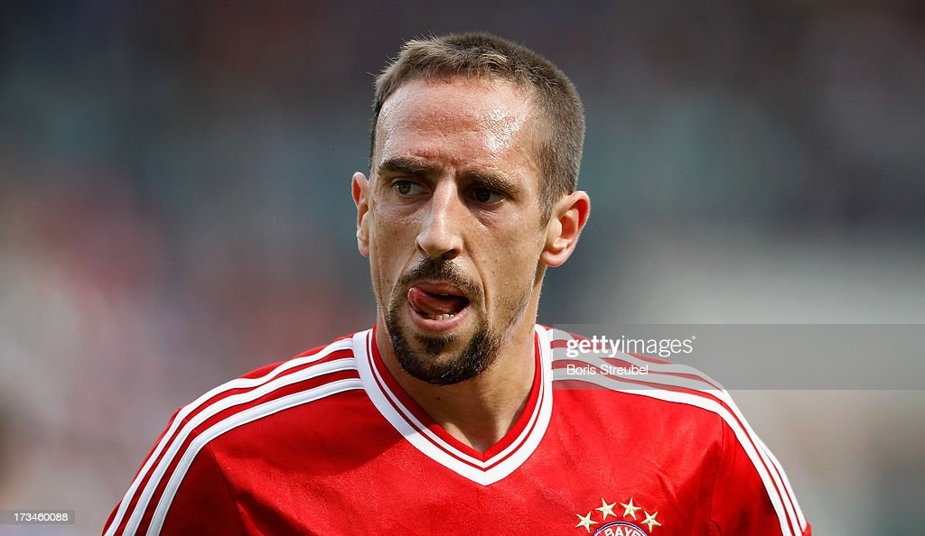 <a gi-track='captionPersonalityLinkClicked' href=/galleries/search?phrase=Franck+Ribery&family=editorial&specificpeople=490869 ng-click='$event.stopPropagation()'>Franck Ribery</a> of Muenchen reacts during the charity match between Hansa Rostock and FC Bayern Muenchen at DKB-Arena on July 14, 2013 in Rostock, Germany.