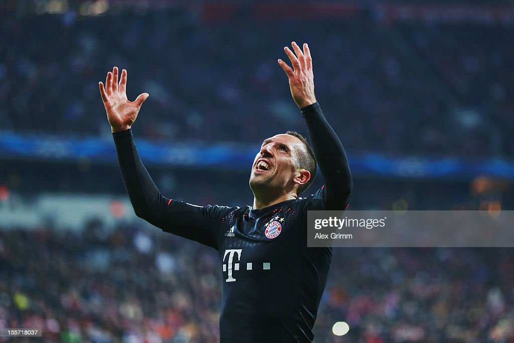 Franck Ribery of Muenchen reacts during the UEFA Champions League group F match between FC Bayern Muenchen and LOSC Lille at Allianz Arena on November 7, 2012 in Munich, Germany.