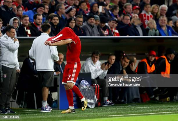 Franck Ribery of Muenchen walks off the pitch during the UEFA Champions League group B match between Bayern Muenchen and RSC Anderlecht at Allianz...
