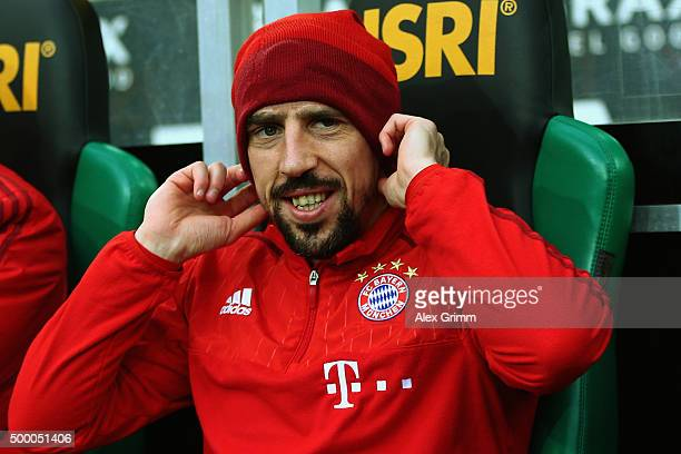 Franck Ribery of Muenchen walks to the bench prior to the Bundesliga match between Borussia Moenchengladbach and FC Bayern Muenchen at BorussiaPark...