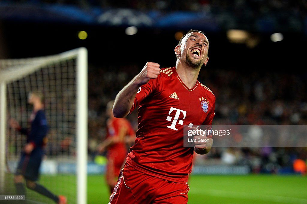 <a gi-track='captionPersonalityLinkClicked' href=/galleries/search?phrase=Franck+Ribery&family=editorial&specificpeople=490869 ng-click='$event.stopPropagation()'>Franck Ribery</a> of Munich celebrates after Gerard Pique of Barcelona scores an own goal to make the score 2-0 during the UEFA Champions League semi final second leg match between Barcelona and FC Bayern Muenchen at Nou Camp on May 1, 2013 in Barcelona, Spain.