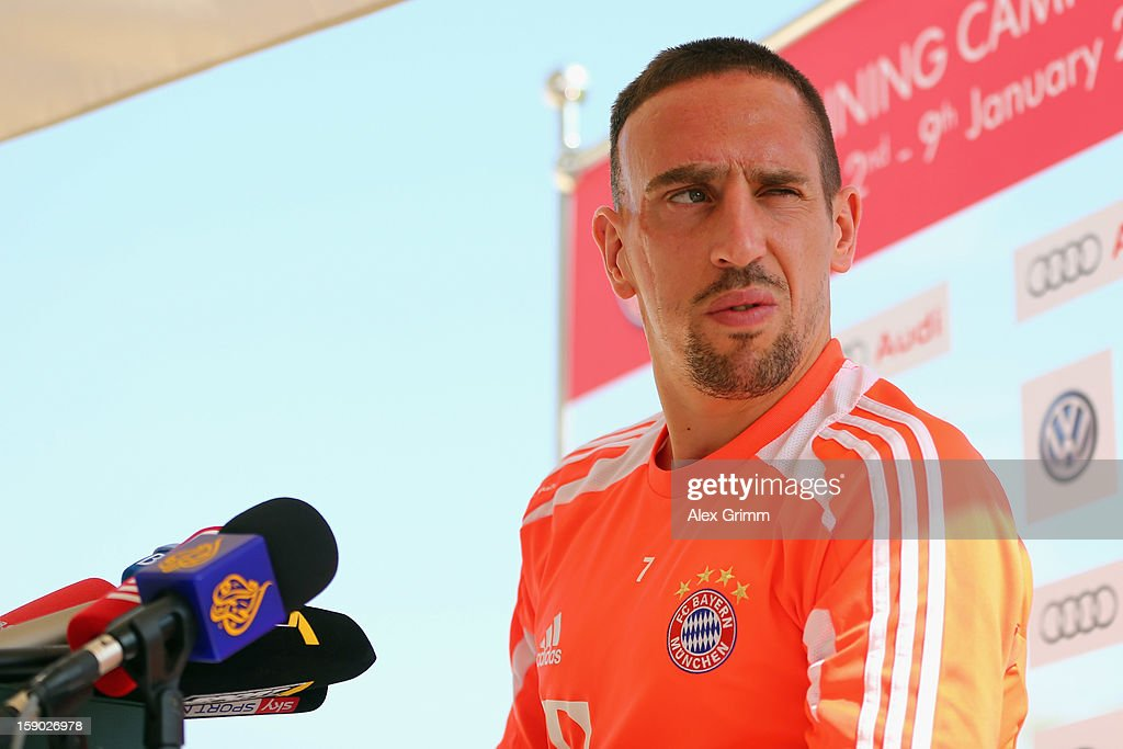 <a gi-track='captionPersonalityLinkClicked' href=/galleries/search?phrase=Franck+Ribery&family=editorial&specificpeople=490869 ng-click='$event.stopPropagation()'>Franck Ribery</a> pauses during a Bayern Muenchen press conference at the Grand Heritage Hotel on January 6, 2013 in Doha, Qatar.