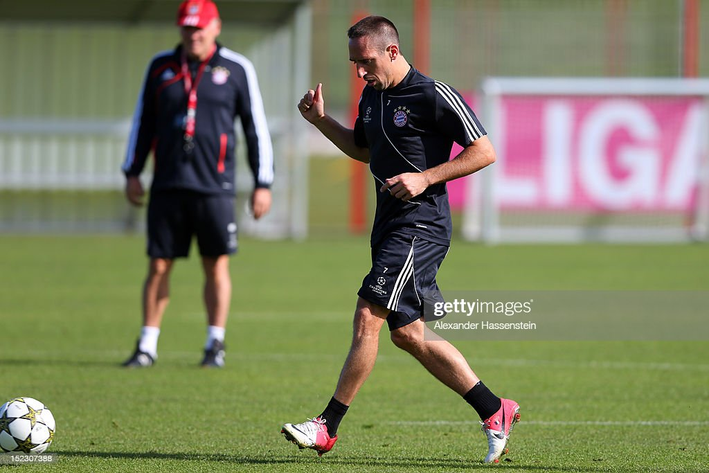 Franck Ribery plays with the ball during a FC Bayern Muenchen training session ahead of their UEFA Champions League group F match against Valencia CF at the Saebener Strasse training ground on September 18, 2012 in Munich, Germany.