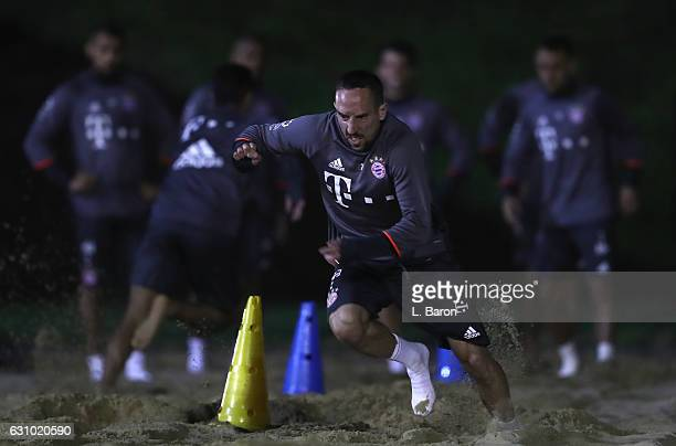 Franck Ribery sprints in the sand during a training session at day 3 of the Bayern Muenchen training camp at Aspire Academy on January 5 2017 in Doha...