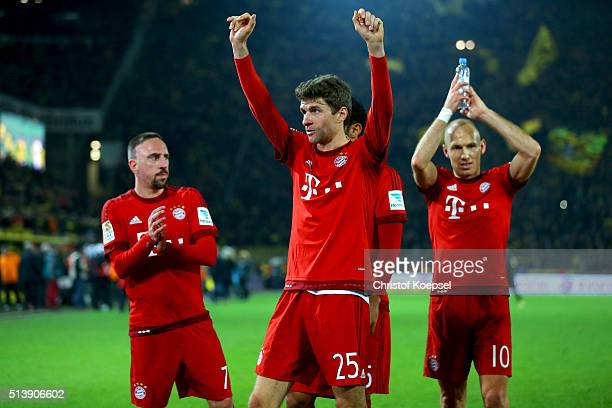 Franck Ribery Thomas Mueller and Arjen Robben of Bayern celebraste affter the Bundesliga match between Borussia Dortmund and FC Bayern Muenchen at...