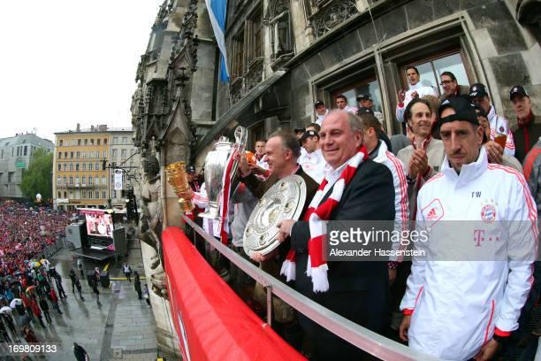 Franck Ribery Uli Hoeness President of FC Bayern Muenchen celebrate winning Bundesliga trophy KarlHeinz Rummenigge with Champions League winners...