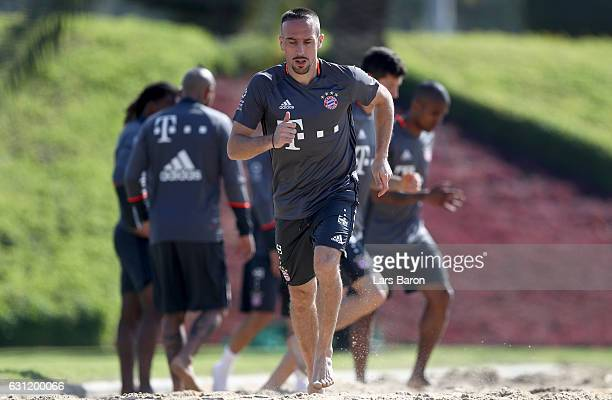 Franck Ribery warms up in the sand during a training session at day 6 of the Bayern Muenchen training camp at Aspire Academy on January 8 2017 in...