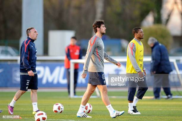 Franck RIBERY / Yoann GOURCUFF / Patrice EVRA Entrainement Equipe de France Clairefontaine