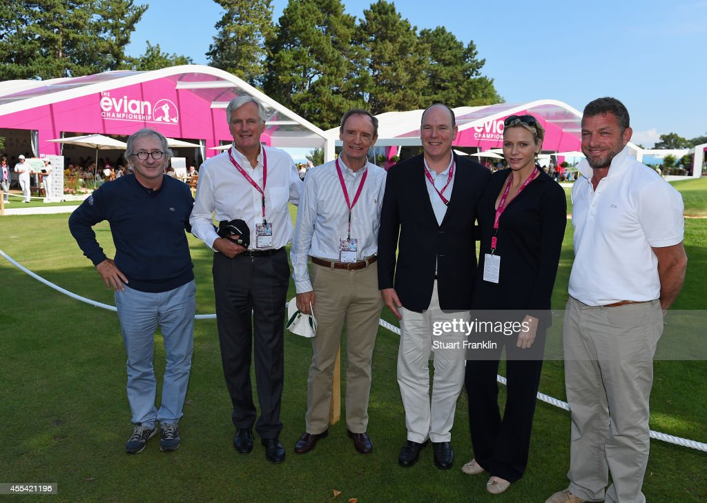 Franck Riboud, President of the Evian Championship and CEO of Danone,Jean Claude Killy, former french skier, Michael Barnier, Vice President of the European Commission, <a gi-track='captionPersonalityLinkClicked' href=/galleries/search?phrase=Prince+Albert+II+of+Monaco&family=editorial&specificpeople=201707 ng-click='$event.stopPropagation()'>Prince Albert II of Monaco</a>, Princess <a gi-track='captionPersonalityLinkClicked' href=/galleries/search?phrase=Charlene+-+Princess+of+Monaco&family=editorial&specificpeople=726115 ng-click='$event.stopPropagation()'>Charlene</a> of Monaco and Jaques Bungert, Evian Championship Director visit the Evian Championship village during the final round of The Evian Championship at the Evian Resort Golf Club on September 14, 2014 in Evian-les-Bains, France.