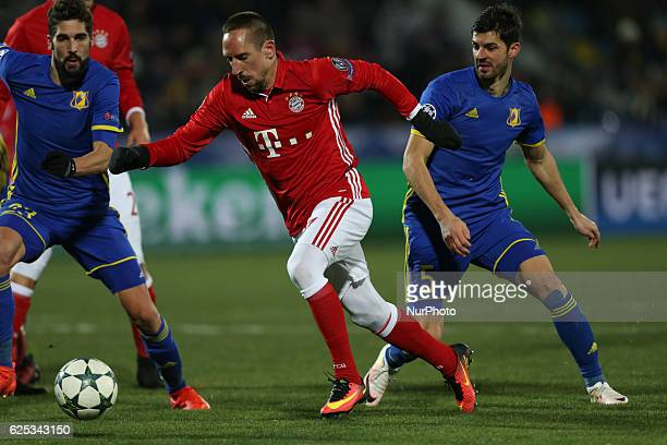 Franck Ribéry of FC Bayern Munich vie for the ball during the UEFA Champions League Group D football match between FC Bayern Munich and FC Rostov at...
